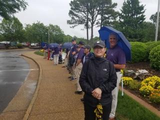 volunteers waiting for bus